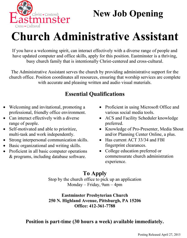 click church administrator job description