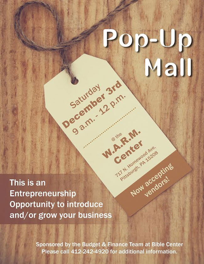 Entrepreneurship Vendor Opportunity | Pop-Up Mall on Dec 3rd from 9AM to 12PM