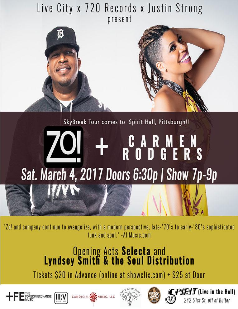 Zo! and Carmen Rodgers | Sat. Mar 4, 2017 6:30pm - 9:00pm at Spirit Lodge