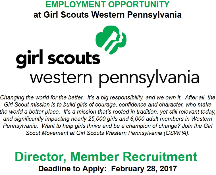 Girl Scouts Employment Opportunity | Director, Member Recruitment | Apply by Feb 28th
