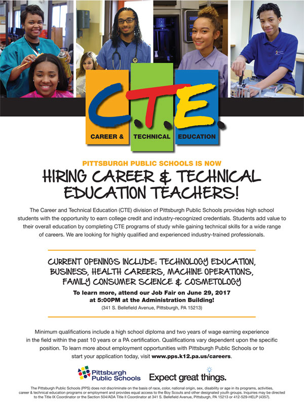 Pittsburgh Public Schools Is Now Hiring Career & Technical Education Teachers!