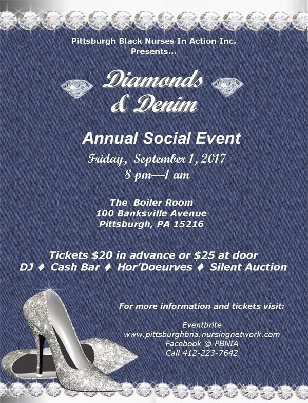 Pittsburgh Black Nurses In Action presents Diamonds & Denim Annual Social Event on Friday Sept 1st!