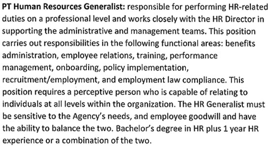PT HUMAN RESOURCES GENERALIST