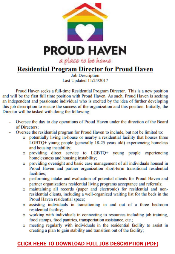 Job Opportunity | Residential Program Director for Proud Haven